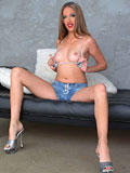 Pornstar Jenna Haze in high heels takes off her short jeans from Global Pornstars