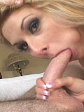 Crystal Ray sucking a dick and gets a cum shot on her lips from Papa Loads