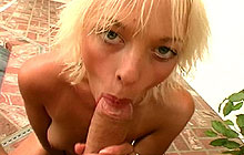 Petite blonde sucking and licking cock from Papa Loads