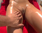 Oiled up babe having sex outside from POV Fantasy