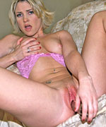 Hot blonde babe makes her pussy all red from using big dildos from Screaming O