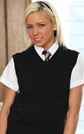 Kacey Jordan opens her uniform to show her tiny tits from New Sensations